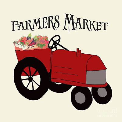 Vegetable Market Drawing - Farmers Market by Priscilla Wolfe