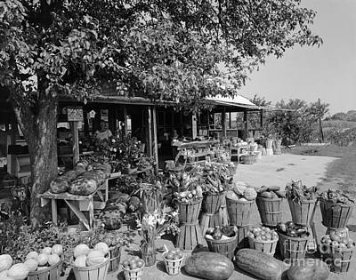 Farmers Market With Bushel Baskets Print by H. Armstrong Roberts/ClassicStock