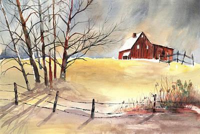 Farmhouse Bathed In Winter Sun Print by Carol Helene