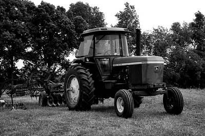 Farming John Deere 4430 Bw Print by Thomas Woolworth