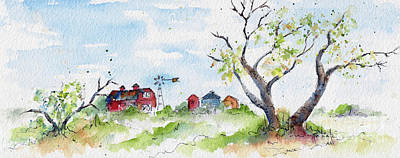 Farmyard From Afar Print by Pat Katz