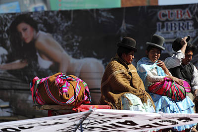 Fashion Contrasts In Bolivia Print by James Brunker