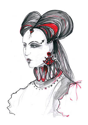 Wall Art Drawing - Fashion Illustration In Watercolor by Marian Voicu