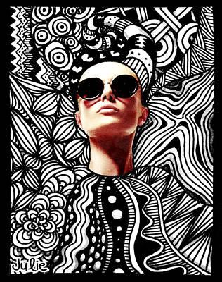 Fashion Drawing - Fashion Tangle by Julie Erin Designs