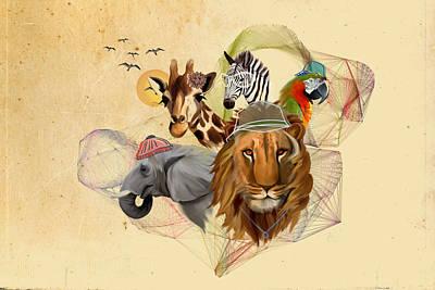 Cool Lion Digital Art - Fashionable Zoo Animals by Chintami Ricci
