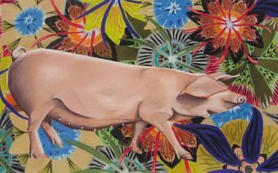 Fashionista Pig Print by Michelle Hayden-Marsan