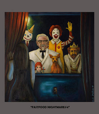 Ronald Mcdonald Painting - Fast Food Nightmare 4 With Lettering by Leah Saulnier The Painting Maniac