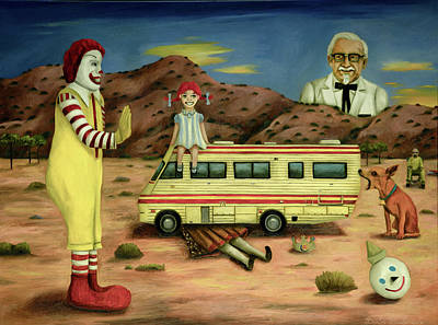 Ronald Mcdonald Painting - Fast Food Nightmare 5 The Mirage by Leah Saulnier The Painting Maniac