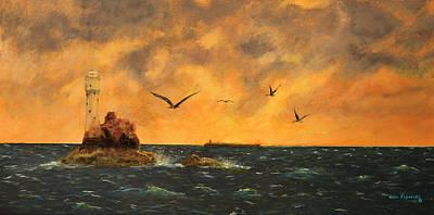 Lighthouse Painting - Fastnet Light Ireland by Ken Figurski