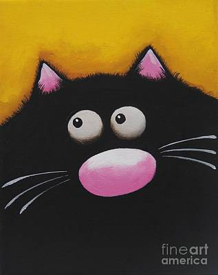 Fat Cat In Yellow Print by Lucia Stewart