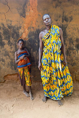African Huts Photograph - Father And Daughter In Akato Viepe Village Togo by David Smith