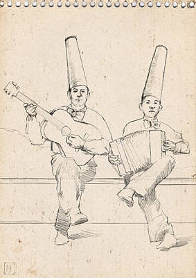 Street Performer Drawing - Father And Son by H James Hoff