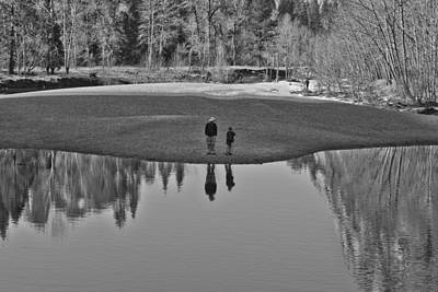Father And Son Reflected Print by Priya Ghose