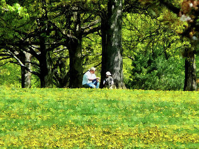 Man Photograph - Father And Son Under The Trees by Susan Savad