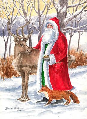 Father Christmas Print by Barbel Amos