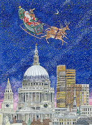Christmas Greeting Painting - Father Christmas Flying Over London by Catherine Bradbury