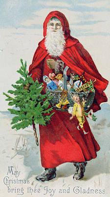 Santa Claus Painting - Father Christmas In The Snow, Victorian Postcard by English School