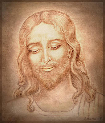 Jesus Drawing - Father Forgive Them  by Ananda Vdovic