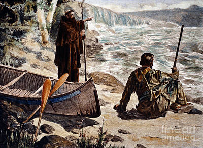 Canoe Waterfall Painting - Father Louis Hennepin by Granger