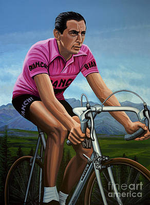 Fausto Coppi Painting Print by Paul Meijering