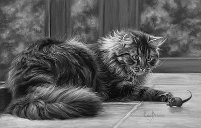 Hair Painting - Favorite Toy - Black And White by Lucie Bilodeau