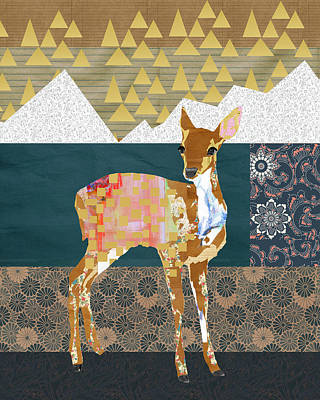 Deer Mixed Media - Fawn Collage by Claudia Schoen