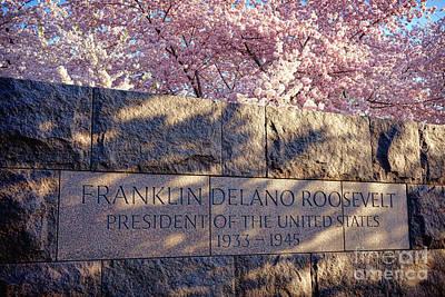 Entrance Memorial Photograph - Fdr Memorial Marker In Washington D.c. by Olivier Le Queinec