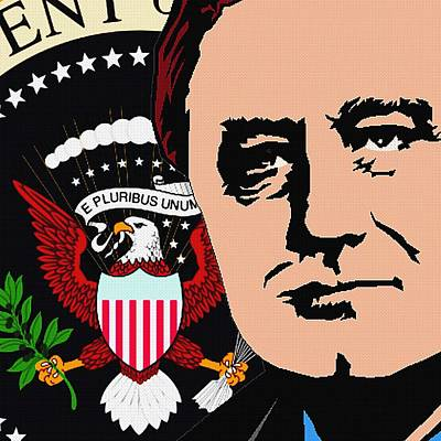 Statesmen Mixed Media - Fdr Seal Of The President-2 by Otis Porritt