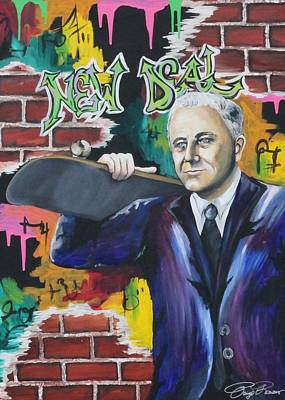 Franklin Roosevelt Painting - Fdr With Skateboard by Paige Reesor