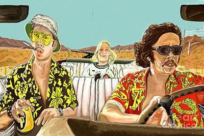 Hunter S. Thompson Mixed Media - Fear And Loathing by Johnee Fullerton