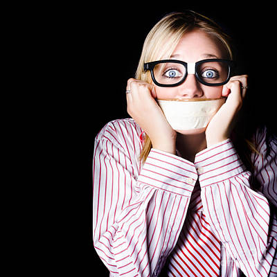 Fearful Business Nerd Silenced With Mouth Tape Print by Jorgo Photography - Wall Art Gallery