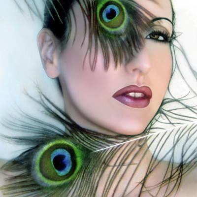 Feathered Beauty - Self Portrait Print by Jaeda DeWalt