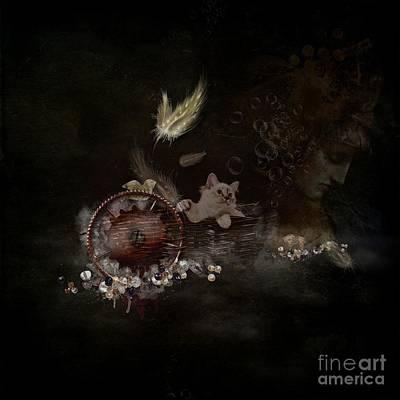 Fine Art Cat Digital Art - Feathers - Jewels - Thoughts by Monique Hierck