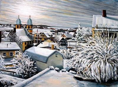 Winter Afternoon Gloucester Ma Original by Eileen Patten Oliver
