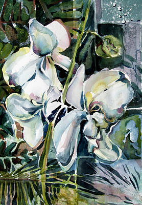 Lilies Mixed Media - February Orchids by Mindy Newman