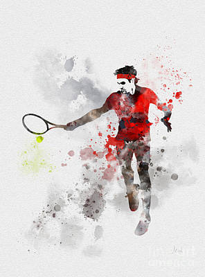 Us Open Mixed Media - Federer by Rebecca Jenkins