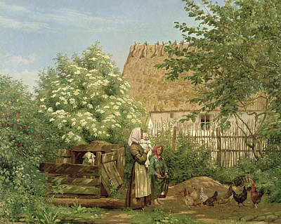 Garden Scene Painting - Feeding The Chickens by Frederick Christian Lund