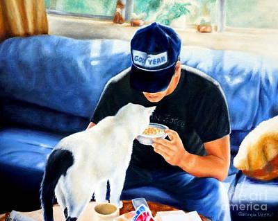 Women Painting - Feeding The Kitty by Georgia Doyle  brushhandle