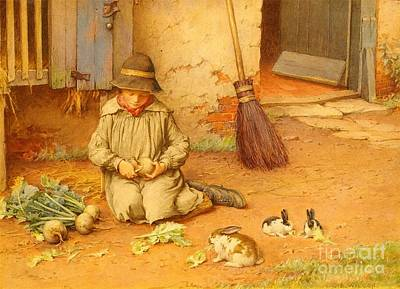 Pet Painting - Feeding The Pets by Celestial Images