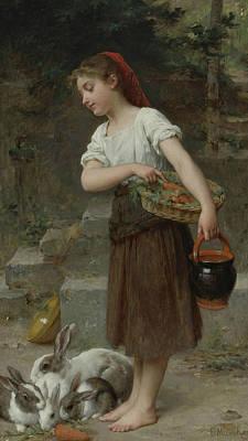 Academic Painting - Feeding The Rabbits by Emile Munier