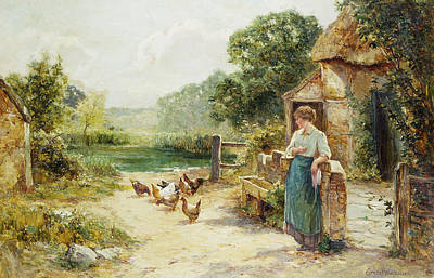 Chicken Painting - Feeding Time by Ernest Walbourn