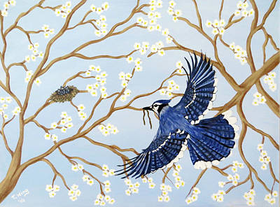 Baby Bluejay Painting - Feeding Time by Teresa Wing