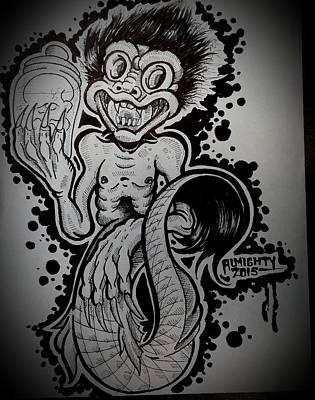 Serial Killer Drawing - Feegee Mermaid  by Ryan Almighty