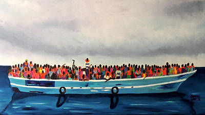 Refugee Artist Painting - Fleeing Death... by Arturo Garcia