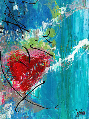 Abstrait Painting - Feel My Heart by Johanne Fortier