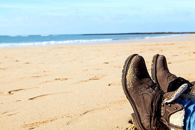 Photograph - Feet In Brown Boots At A Beach by Regina Koch