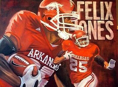 University Of Arkansas Painting - Felix Jones by Jim Wetherington