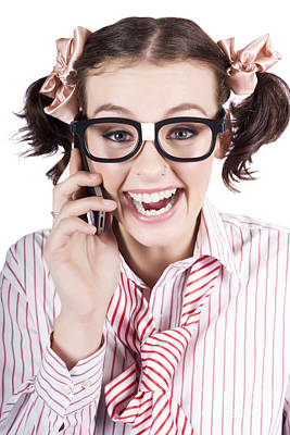 Female Business Person Selling On Smart Phone Print by Jorgo Photography - Wall Art Gallery