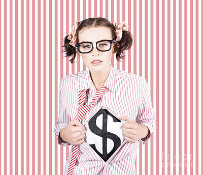 Female Business Superhero Showing Dollar Sign Print by Jorgo Photography - Wall Art Gallery