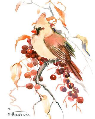 Cardinal Drawing - Female Cardinal Bird And Berries by Suren Nersisyan